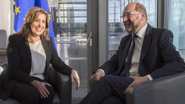 Susana Díaz y Martin Schulz hoy en el Parlamento euripeo