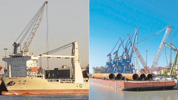 Los dos puertos, a la izquierda el de Huelva y el de Sevilla mantienen altos niveles de tráfico de mercancías