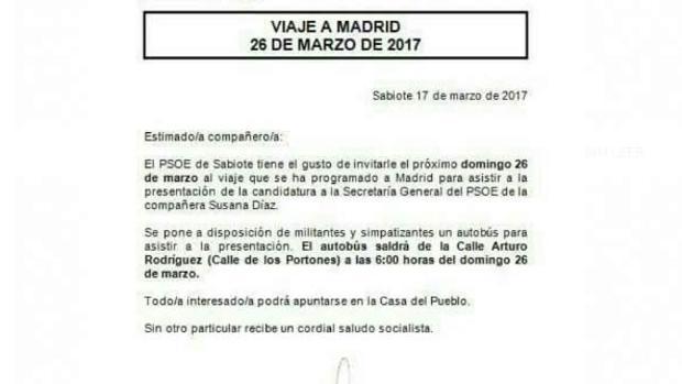 Reproducción de la cita que hace el PSOE de Sabiote para el mitin de presentación de Susana Díaz