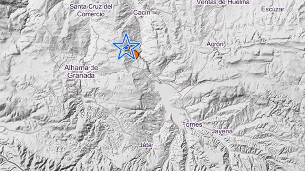 La estrella marca el epicentro del temblor
