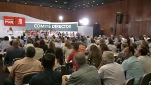 Susana Díaz en el Comité Director celebrado este lunes en Sevilla. Sentado, Gómez de Celis