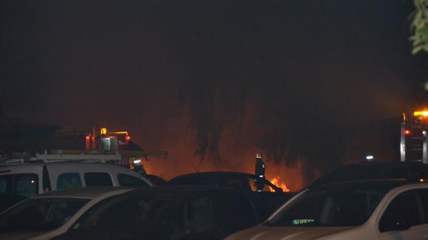 Incendio junto al cementerio de San Rafael