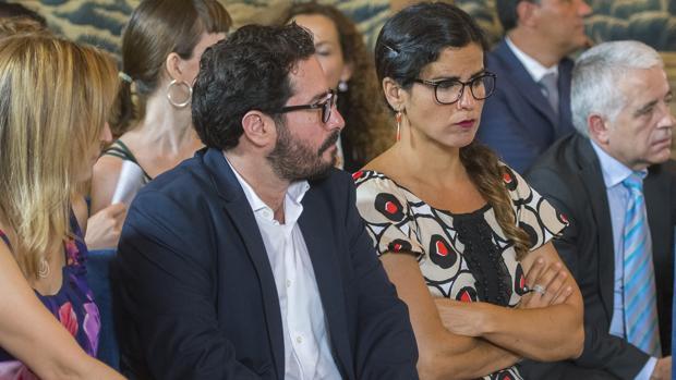 Teresa Rodríguez, este miércoles en el Pleno institucional del Parlamento que se celebró en el Real Alcázar