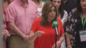 Susana Díaz, en la sede del PSOE-A este sábado