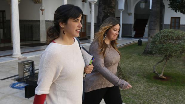 Teresa Rodríguez llegando al pleno del Parlamento andaluz