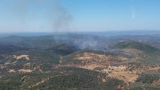 Incendio declarado ayer en Villaviciosa de Córdoba.