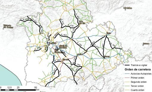 Carreteras de Sevilla donde se intensificará la vigilancia