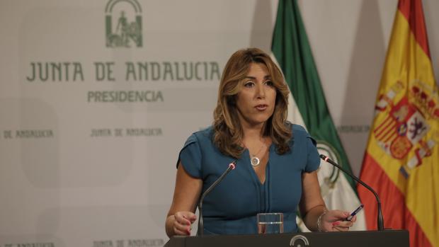 Susana Díaz, durante su rueda de prensa tras el primer Consejo de Gobierno después de las vacaciones