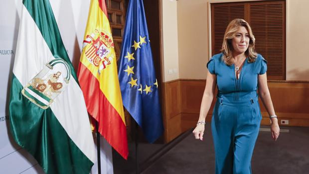 Susana Díaz, a su llegada a la rueda de prensa posterior al Consejo de Gobierno