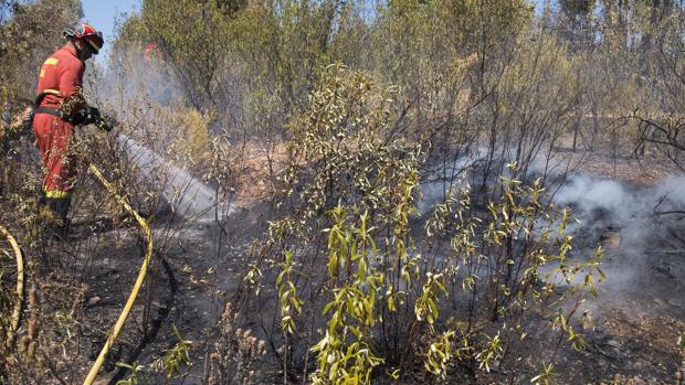 Un bombero en las tareas de extinción del incendio de la Granada de Riotinto