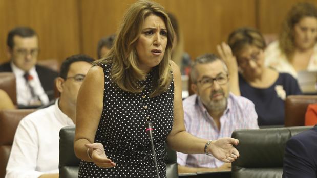 La presidenta de la Junta en el debate del jueves donde se trató el asunto de las cuentas