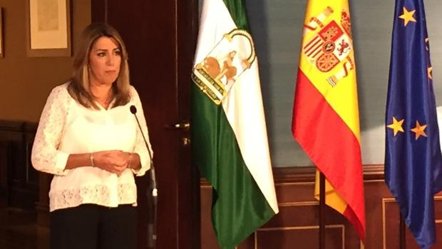 Susana Díaz, en la rueda de prensa posterior al acuerdo para los presupuestos
