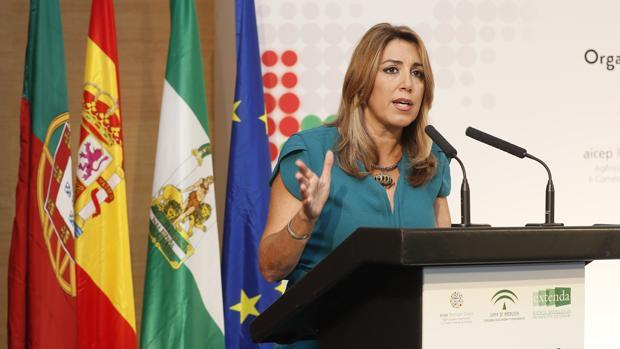 Susana Díaz durante su intervención en un encuentro empresarial este miércoles en Lisboa