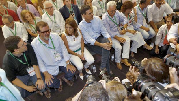 Susana Díaz y Pedro Sánchez en el Congresio Regional el PSOE andaluz el pasado julio