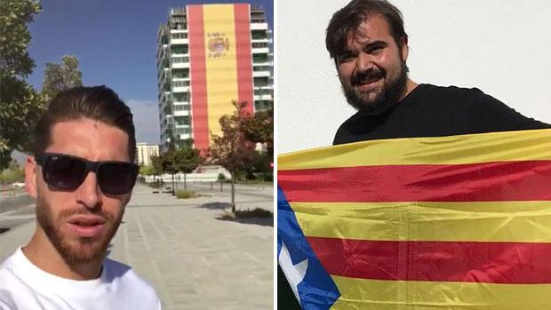 El posado de Sergio Ramos junto a una bandera de España ha sido criticado duramente por Óscar Reina, del SAT