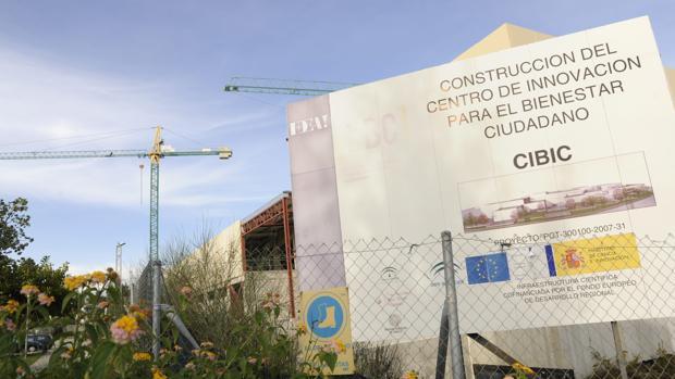 Obras de construcción del FIbic (2012) en el PTA de Málaga