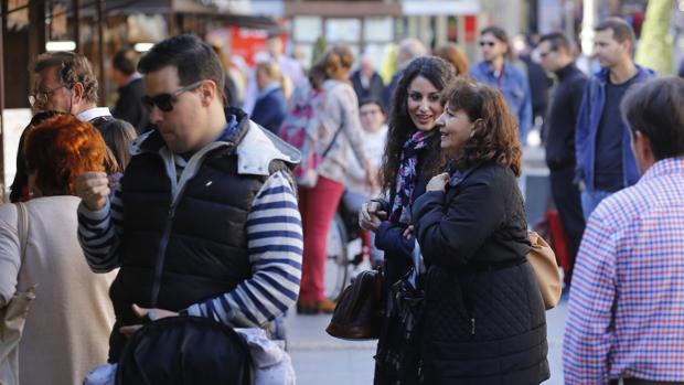 Varias personas en el mercado navideño de las Tendillas