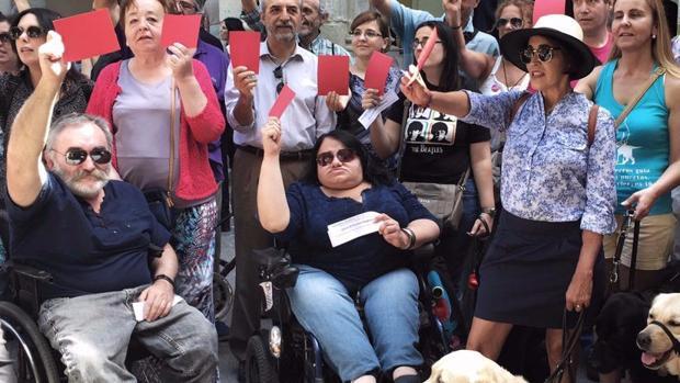 Eugenia Carrasco, en el centro de la imagen, con otros compañeros de Eliminando Barreras