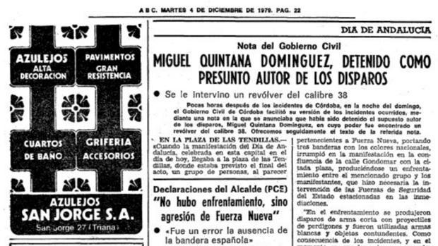 Recorte de la noticia de ABC que daba cuenta de los sucesos del 4 de diciembre de 1979