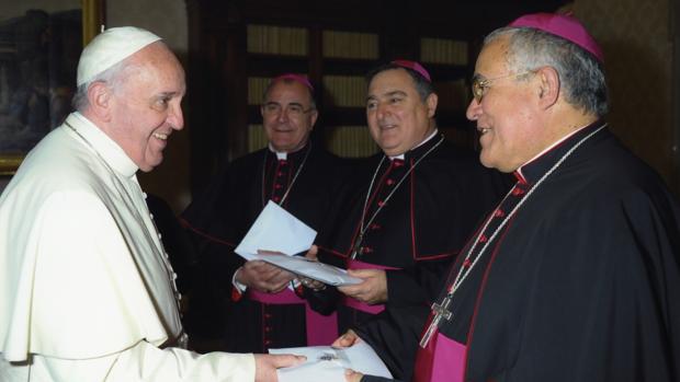 El obispo de Córdoba, durante una visita al Papa Francisco
