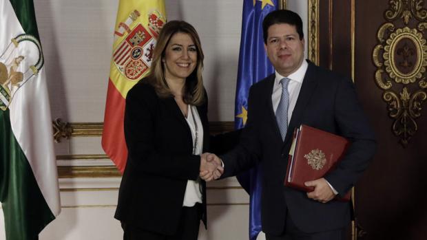 Susana Díaz y Fabian Picardo han mantenido este jueves un cordial encuentro en San Telmo