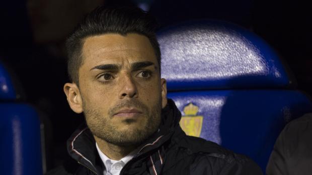 Jorge Romero en el banquillo de La Romareda antes del duelo contra el Real Zaragoza
