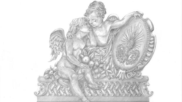 Dibujo del llamador del paso de la Virgen de la Salud de Córdoba