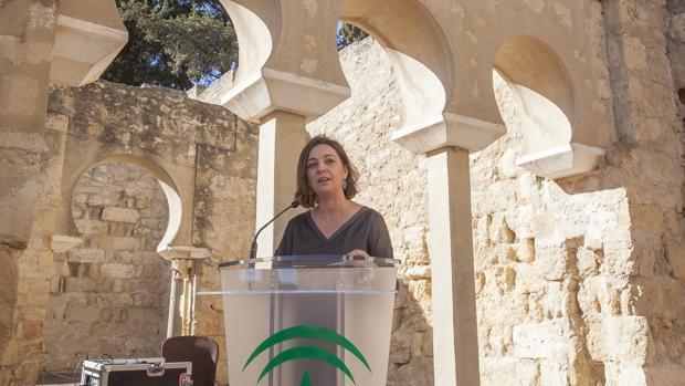 La alcaldesa de Córdoba, Isabel Ambrosio, durante un acto de apoyo de las ciudades patrimonio de Medina Azahara