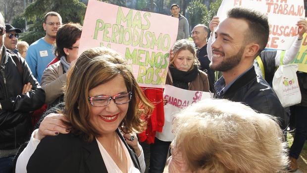 Ángeles Muñoz y Cristian Menacho tras una comparecencia en los juzgados