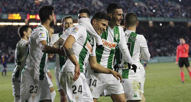 Narváez celebra el primer gol con el Córdoba