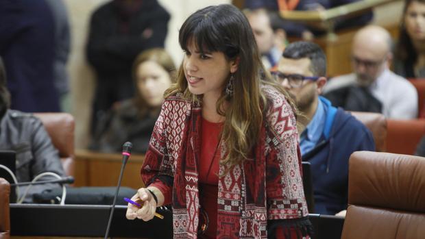 La portavoz de Podemos en el Parlamento de Andalucía durante una intervención