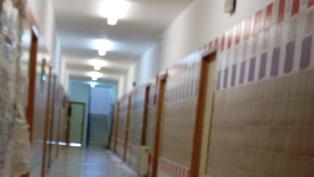 La «bandera republicana», ya sin el amarillo, esta mañana en el colegio de Jaén