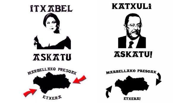 Los dos carteles de liberación de los «presos de Marbella»