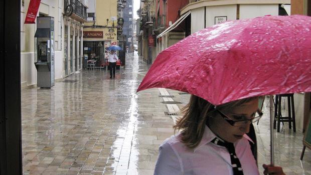 Lluvia en las calles de Málaga