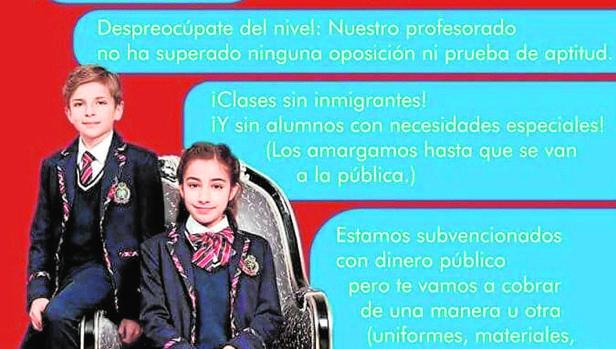 Imagen difundida contra los colegios concertados en Córdoba