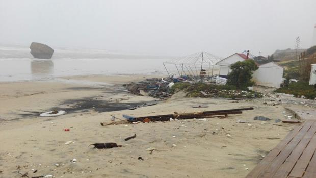 Efectos del temporal en la playa de Matalascañas