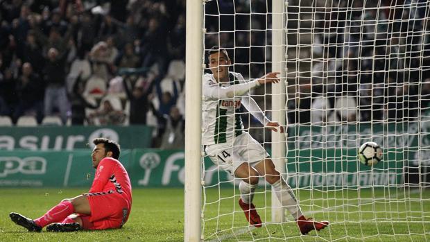 Sergi Guardiola celebra el gol ante el Lugo