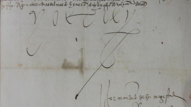 Firma del emperador Carlos V en una carta a la familia del Gran Capitán en 1520