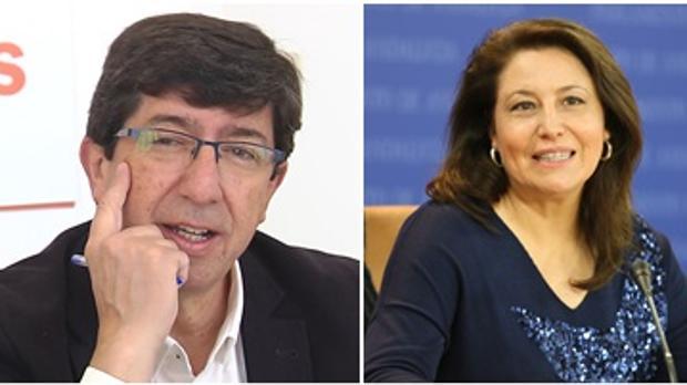 El portavoz de Ciudadanos, Juan Marín, y la portavoz del PP-Andaluz, Carmen Crespo