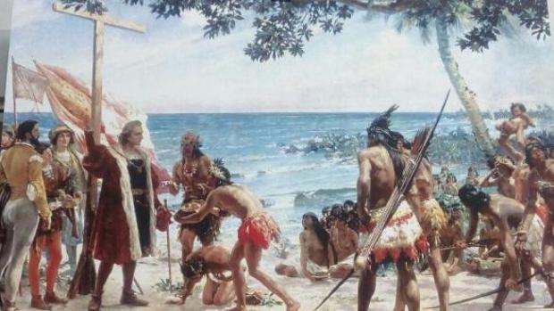 Cuadro del montillano José Garnelo que muestra a Colón al llegar a América
