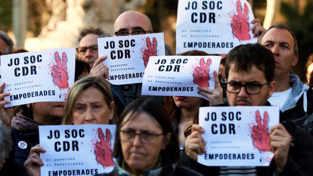 Protesta en favor de los comités de defensa de la República en Cataluña