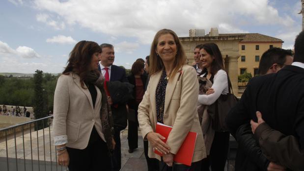 Doña Elena, tras el acto de entrega de los reconocimientos de la Fundación Mapfre en Córdoba