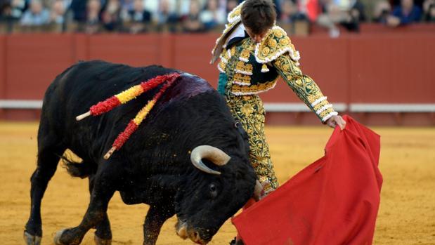 Juli en la faena que le dio el triunfo en Sevilla