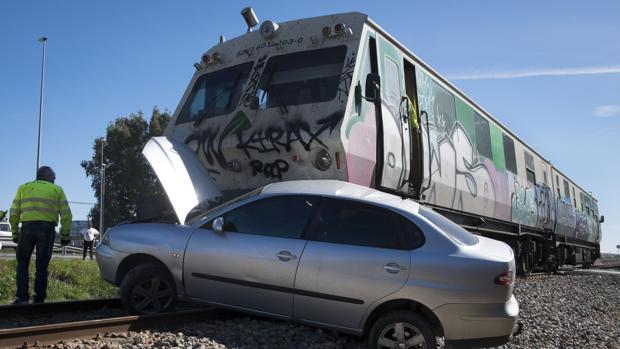 Accidente en la línea férrea Zafra-Huelva el pasado mes de febrero