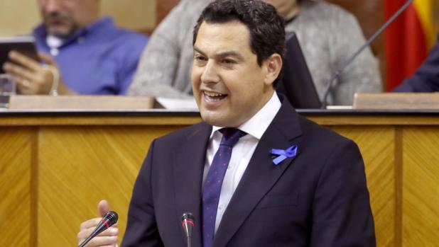 Juanma Moreno, en el debate del miércoles en el Parlamento andaluz