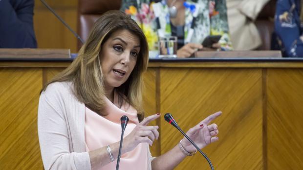 La presidenta de la Junta de Andalucía durante el debate sobre la Comunidad