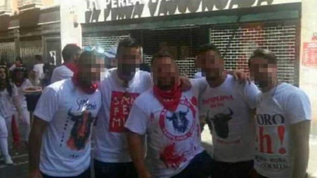 Miembros de «La Manada» en Pamplona