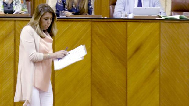 Susana Díaz, en el Parlamento andaluz el miércoles