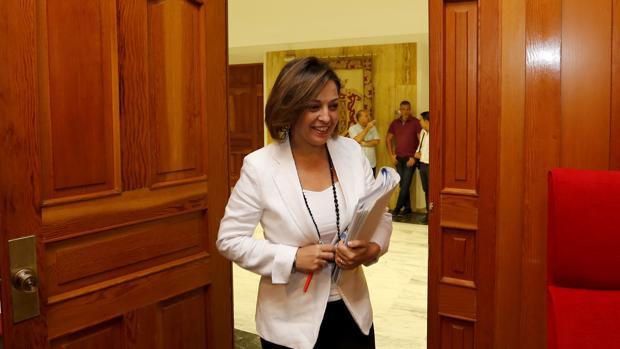 La alcaldesa de Córdoba, antes de un Pleno