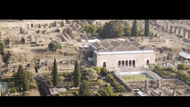 Captura del vídeo aéro del yacimiento de los Omeyas